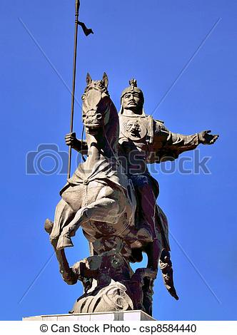 Stock Images of Statue of 3 Kyrgyz warriors.