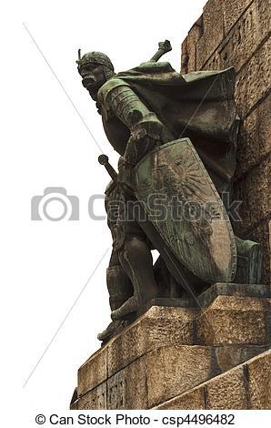 Stock Photo of Warrior statue in Krakow..