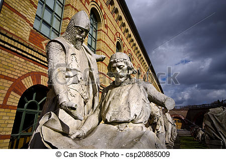 Stock Photography of Old warrior statue in Berlin, Germany.