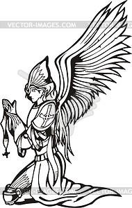 Angel warrior praying.