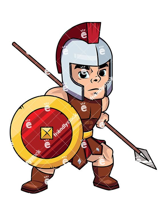 Roman Spearman Warrior With His Shield And Spear.