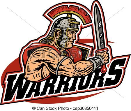 Vector Clip Art of warriors team design with muscular warrior.