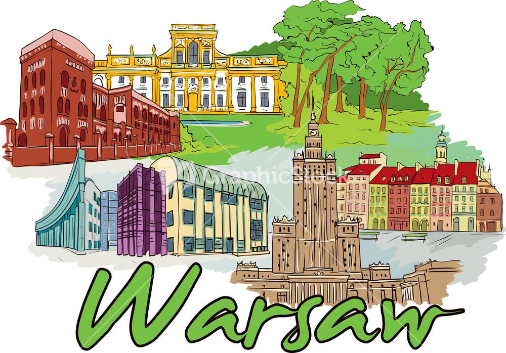 Warsaw Vector Doodle.
