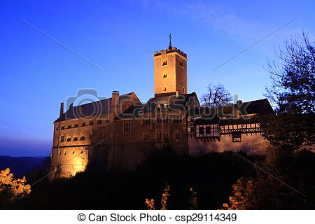 Stock Photo of Wartburg Castle in Germany at Night csp29114349.