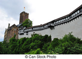 Stock Photographs of The Wartburg Castle near Eisenach in Germany.