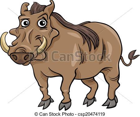 Vector Clip Art of warthog animal cartoon illustration.