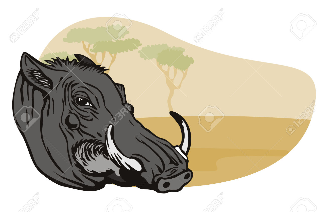Warthog With Safari Background Royalty Free Cliparts, Vectors, And.