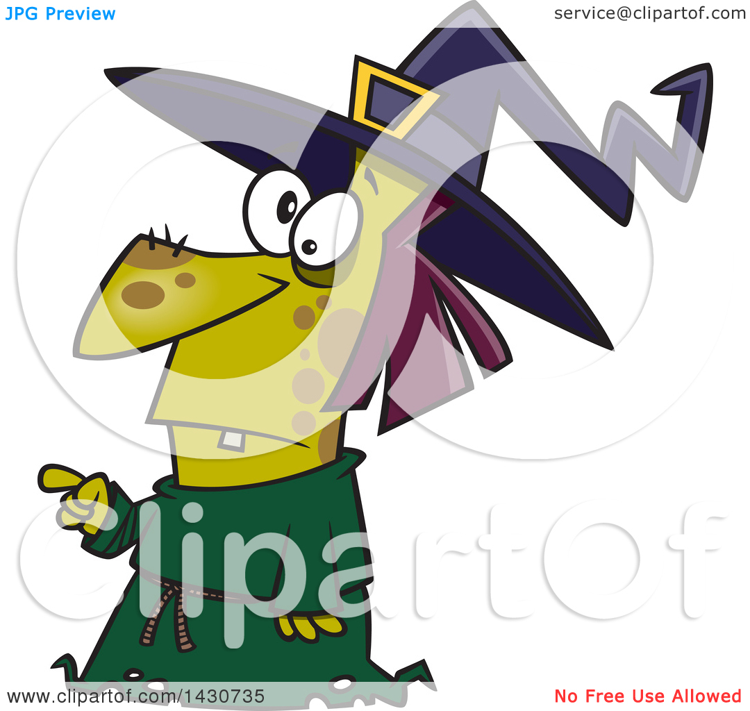 Clipart of a Cartoon Warty Witch Pointing.
