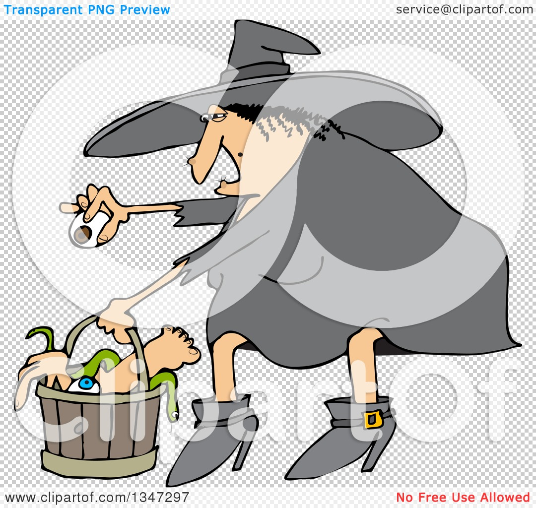 Clipart of a Cartoon Chubby Warty Halloween Witch Puting an.