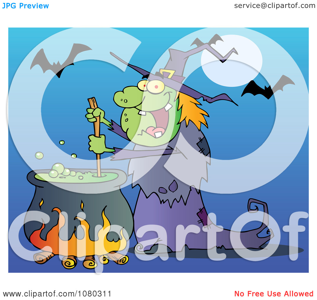 Clipart Warty Halloween Witch Stirring A Potion Under Bats On Blue.