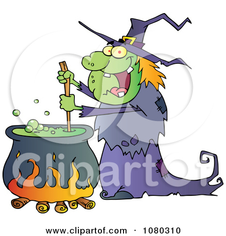 Clipart Warty Halloween Witch Stirring A Potion In A Cauldron.