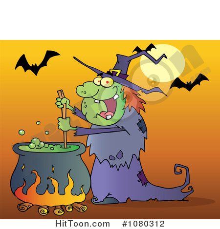 Witch Clipart #1080312: Warty Halloween Witch Stirring a Potion.