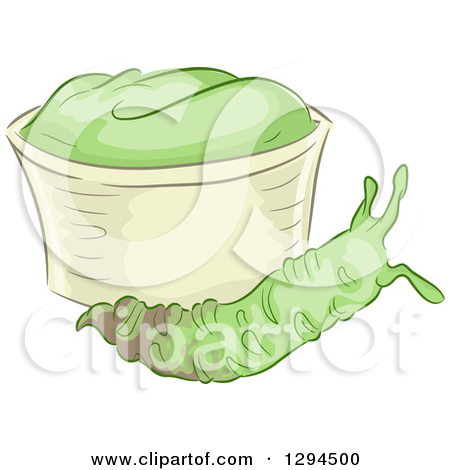 Clipart of a Wasabi Root by a Bowl of Paste.