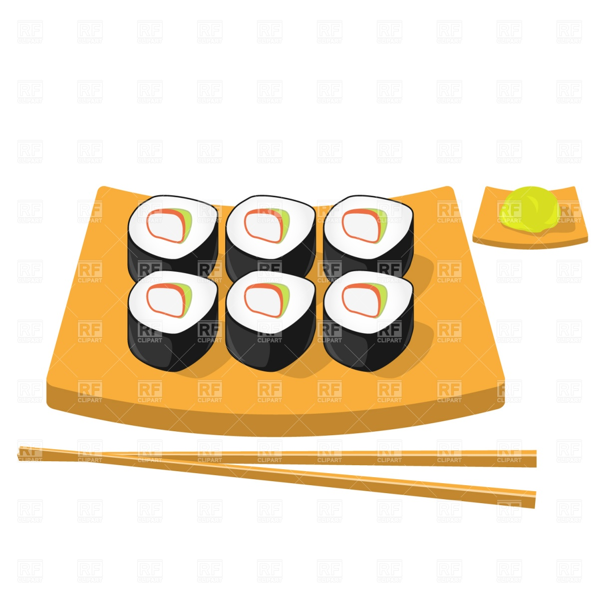 Chopsticks, wasabi and roll sushi Vector Image #1477.