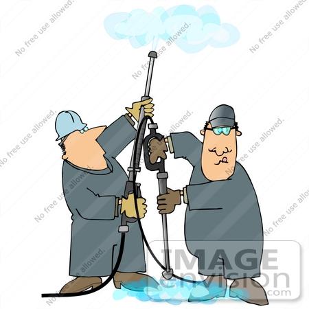 Clip Art Graphic of Two Caucasian Men in Coveralls, Operating.