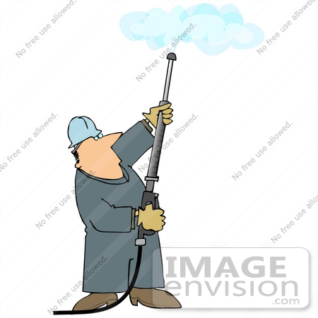 Clip Art Graphic of a Caucasian Worker Man Operating a Power.