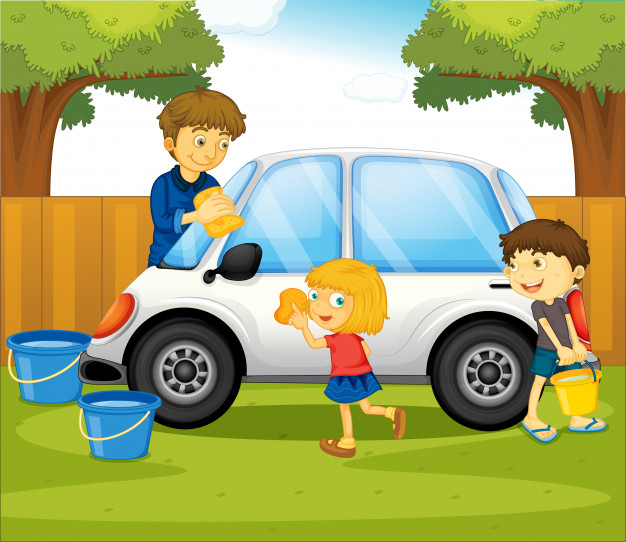 Dad and kids washing car in the park Free Vector.
