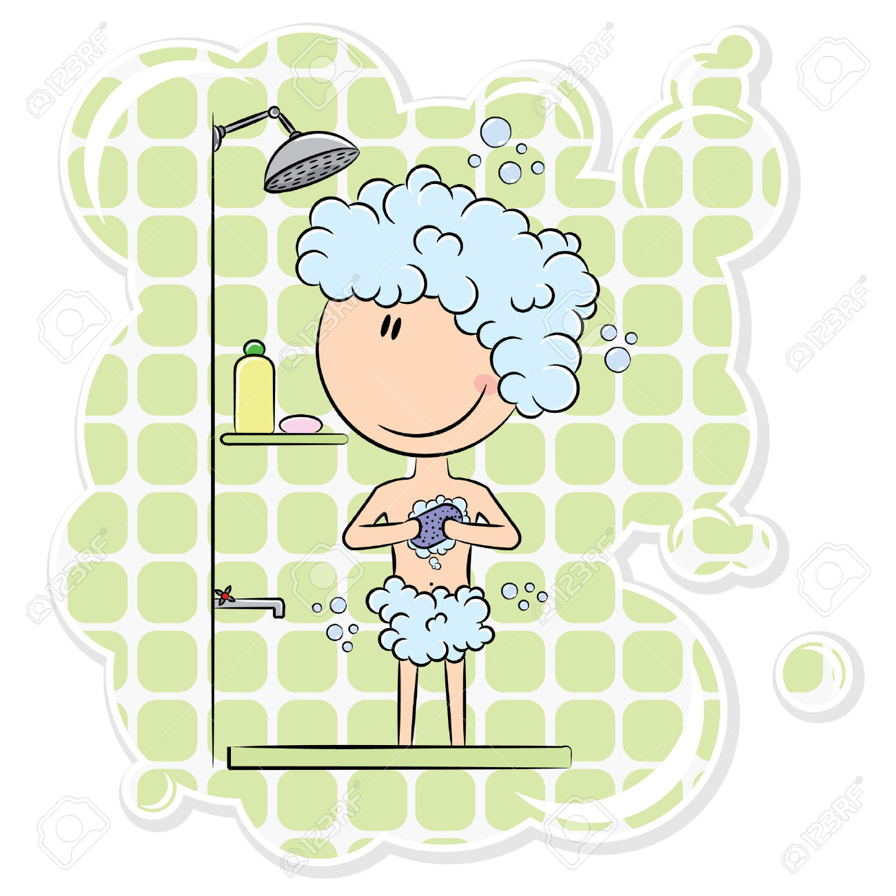 Boy Having Morning Shower With Big Bubbles Royalty Free Cliparts.