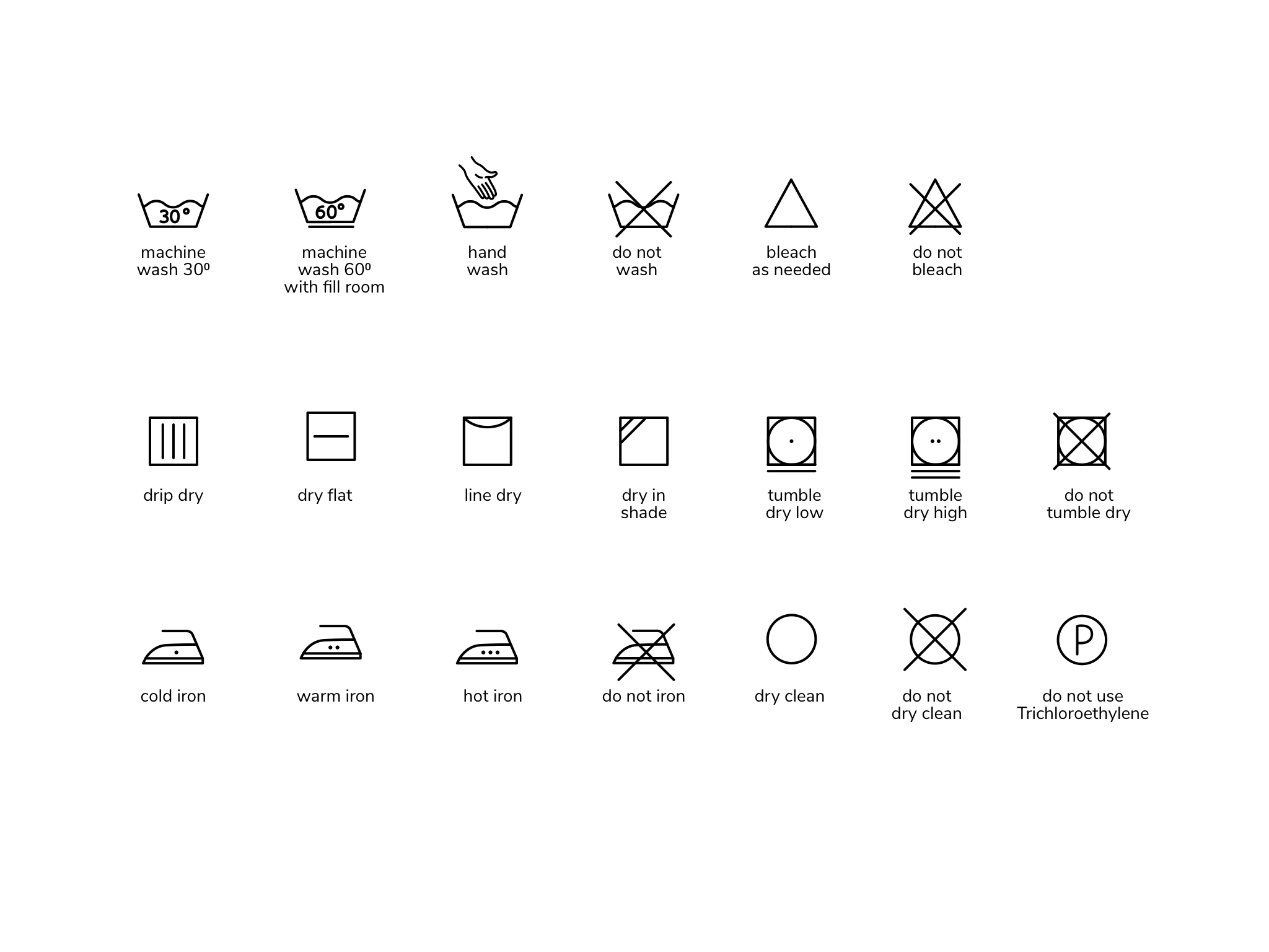 Washing Symbols & Wash Care Guide For Cotton & Pure Linen.