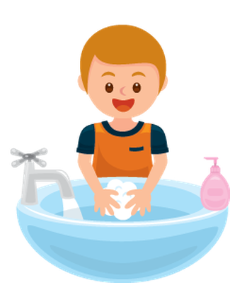 Boy washing hands clipart.