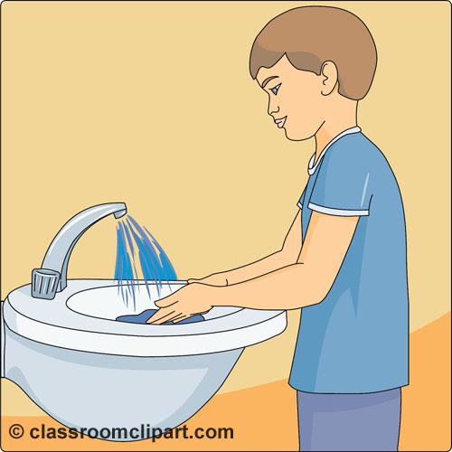 Kitchen Center Clip Art: Child Washing Hands Clipart