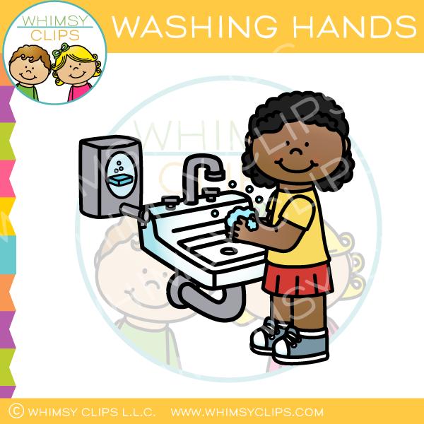 Girl Washing Hands Clip Art.