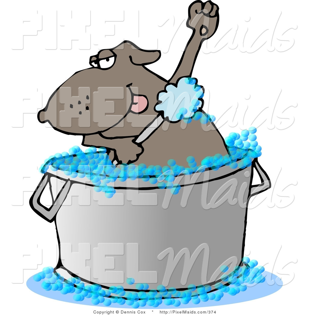 Clipart of a Bathing Brown Dog in a Large Wash Tub by djart.