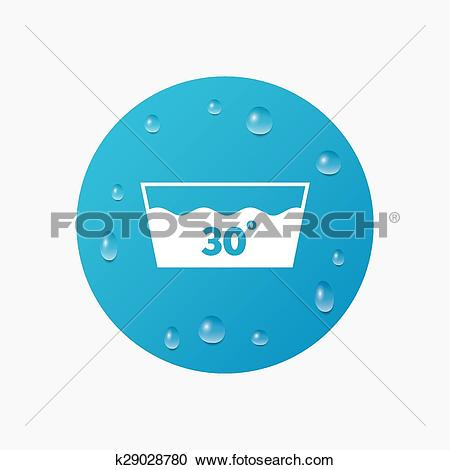 Clipart of Wash icon. Machine washable at 30 degrees symbol.
