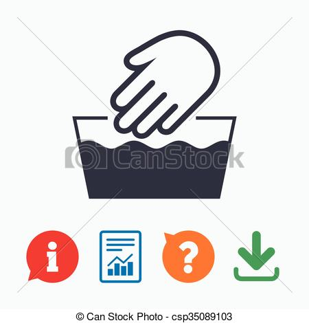Vector Clipart of Hand wash sign icon. Not machine washable symbol.