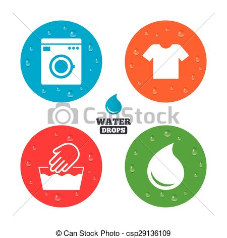 Vector Clipart of Wash icon. Not machine washable symbol..