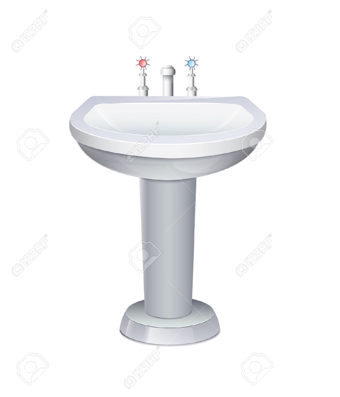 Washbasin With White Water Tap Royalty Free Cliparts, Vectors, And.