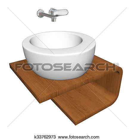 Drawing of Modern bathroom sink set with ceramic or acrylic wash.