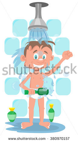 Man Taking A Shower With A Washcloth Stock Vector Illustration.
