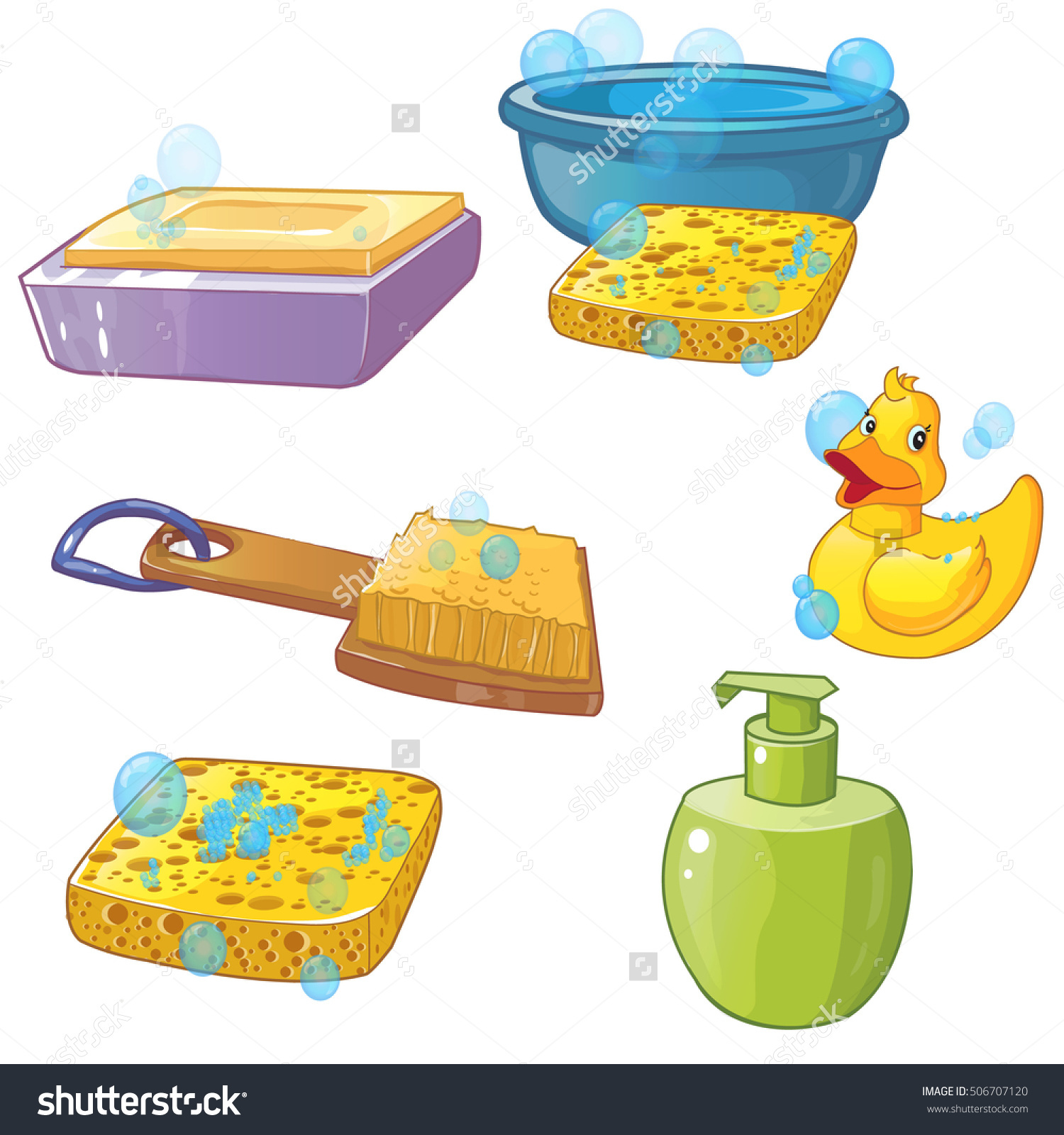 Vector Set Washing Soap Washcloth Sponge Stock Vector 506707120.