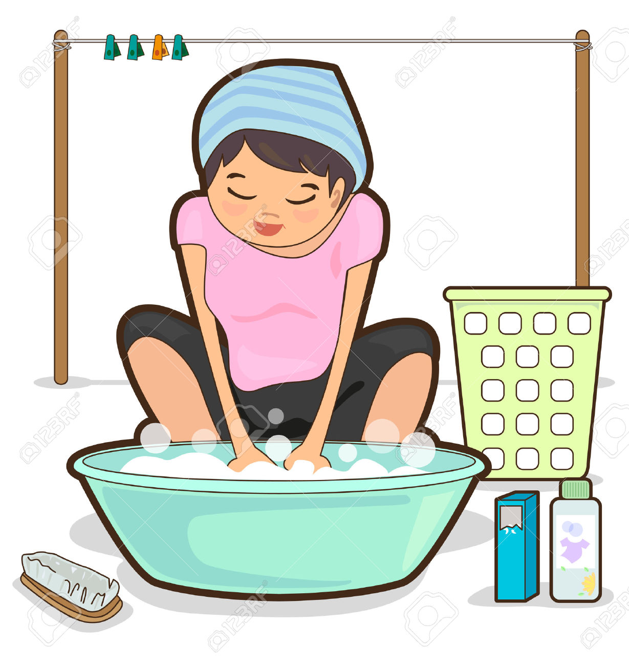 Wash clothes by hand clipart.