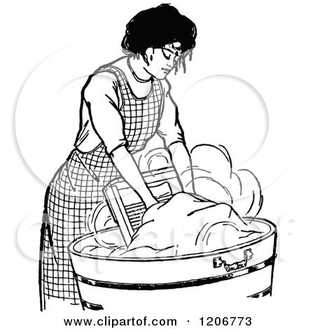 Clipart Retro Black And White Mother And Son Folding And Washing.
