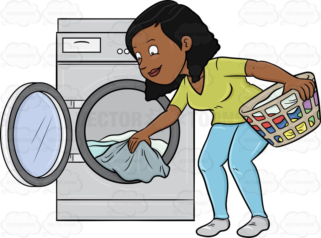 A Black Woman Taking Out Her Washed Linens From The Washer Cartoon.