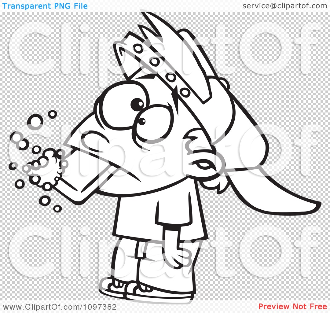 Clipart Outlined Bad Boy Getting His Dirty Mouth Washed Out With.