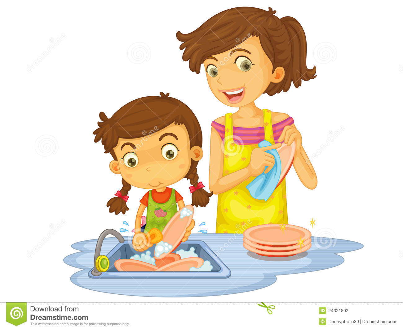 Washing dishes by hand clipart.