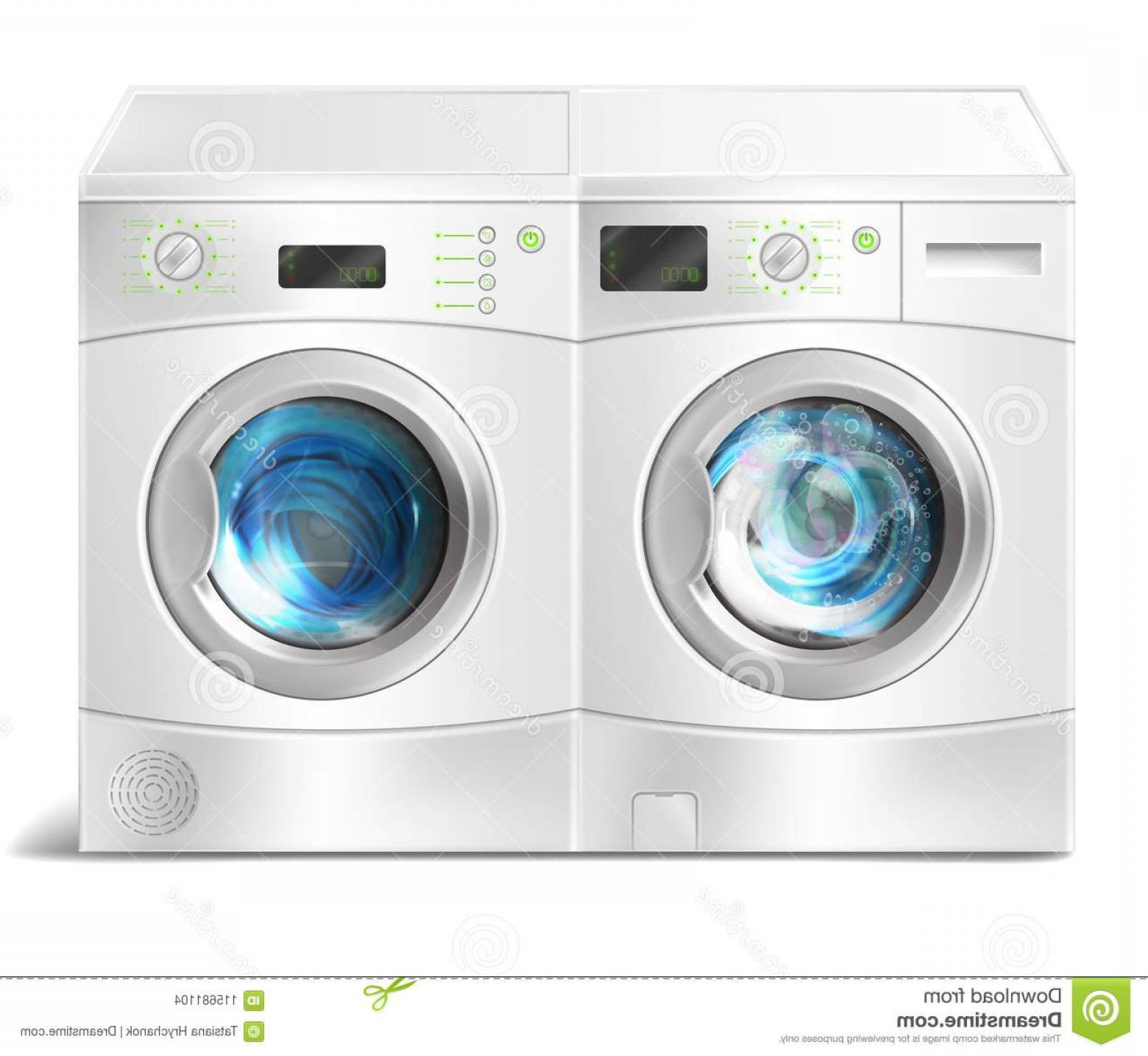 Vector Washer Dryer Laundry Inside Realistic Illustration.