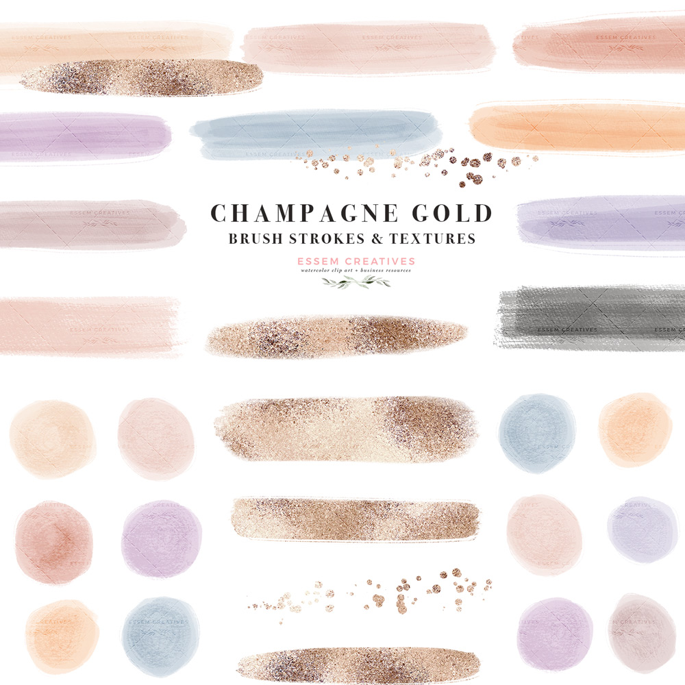 Muted Champagne Gold Brush Strokes Clip Art PNG, Digital Washi Tape Soft  Retro Desaturated Neutral Soft Paint Splashes.