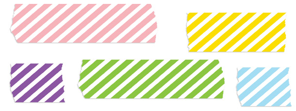 Diagonal Striped Washi Tape Clipart Pack.
