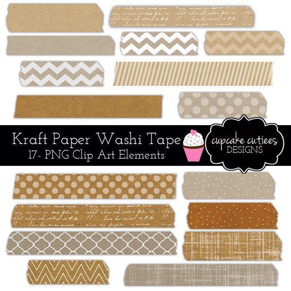 Kraft Paper Washi Tape Digital Clip Art Elements.