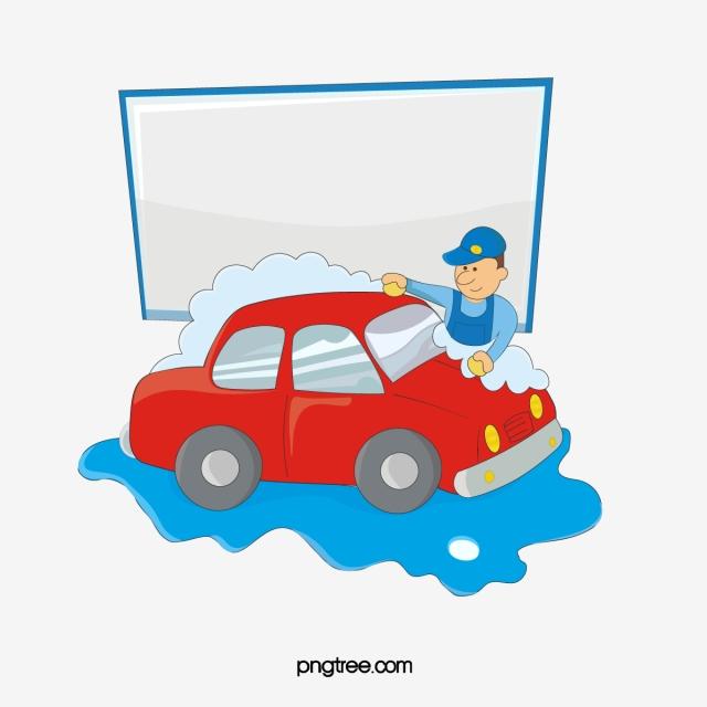 Man Cartoon Version Of A Car Full Of Spray Foam Washing.