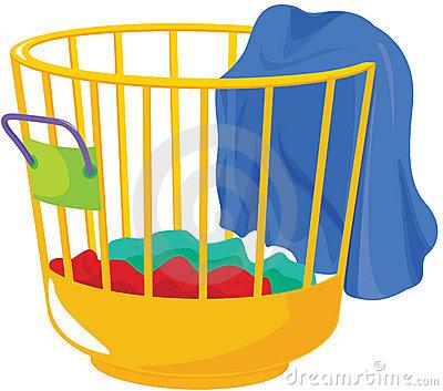 Laundry Basket Stock Photo.