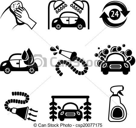 Vectors Illustration of Car wash icons black and white.
