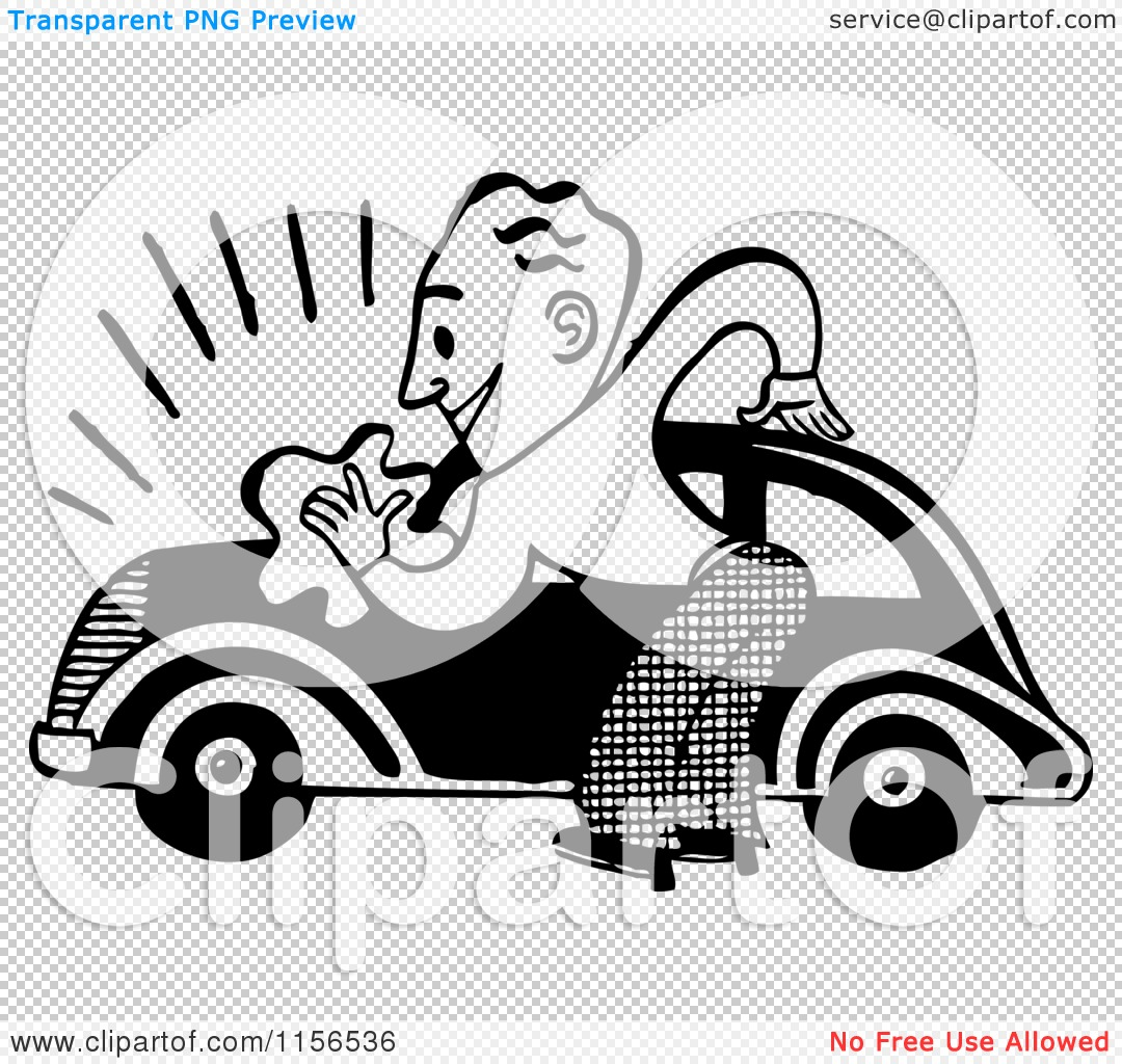 Clipart of a Black and White Retro Man Washing a Car.