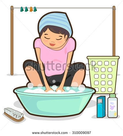 Mother washing clothes clipart.