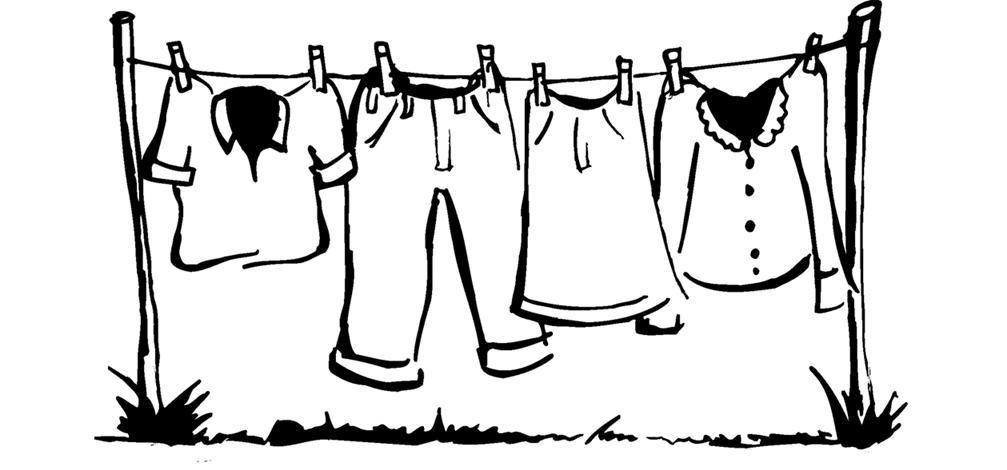 Clothesline Line Drawing.
