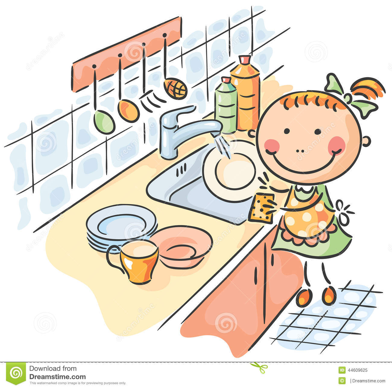 Child washing dishes clipart.